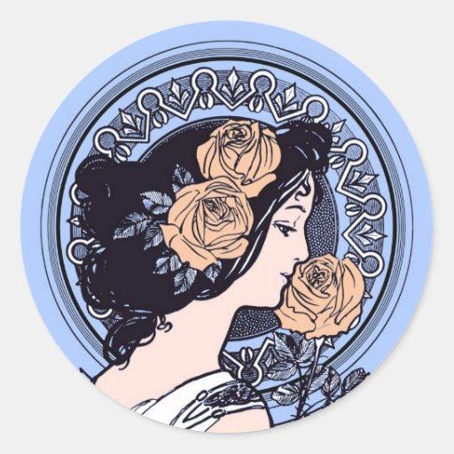 Blue art nouveau girl round sticker