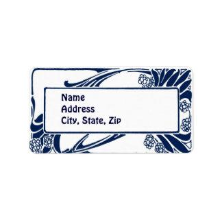 Blue art nouveau label