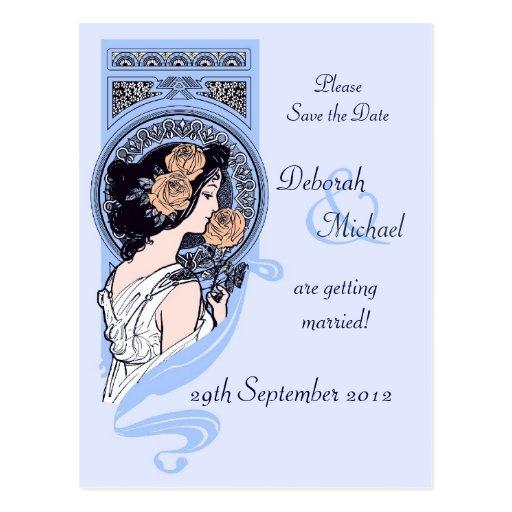 Blue art nouveau Save the Date postcard