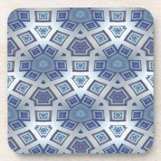 Blue Artistic Geometric Gear Like Pattern Drink Coaster