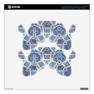 Blue Artistic Geometric Gear Like Pattern PS3 Controller Decal