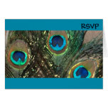 Blue Artistic Peacock Wedding RSVP Stationery Note Card