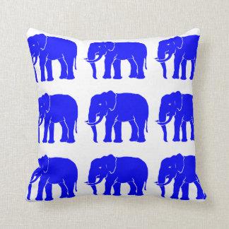 Blue Asian Elephants on Snow White Throw Pillow