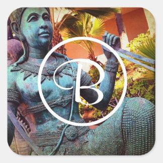 Blue Asian warrior statue photo custom monogram Square Sticker