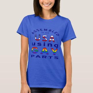 Blue Assembled USA Gay Parts T-Shirt