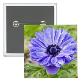 Blue Aster Flower Square Pin