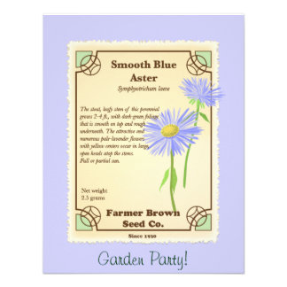 Blue Aster Seed Packet Personalized Announcement