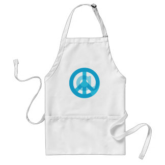 """Blue """"At Peace"""" Sign - At Symbol + Peace Sign Adult Apron"""
