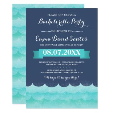 Beach Themed Blue At Sea Bachelorette Party Card