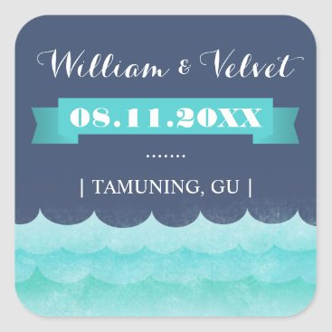 Beach Themed Blue At Sea Nautical Wedding Favor Stickers