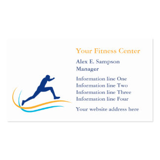 Blue Athlete Gold Swirl Fitness Double-Sided Standard Business Cards (Pack Of 100)
