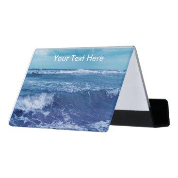 Professional Business Blue Atlantic Ocean Photograph White Cap Waves Desk Business Card Holder
