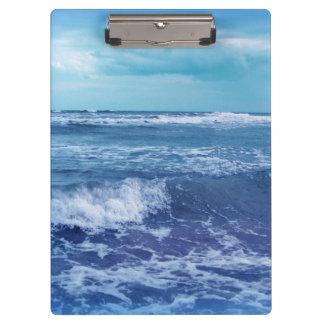 Blue Atlantic Ocean Waves Clouds Sky Photograph Clipboard