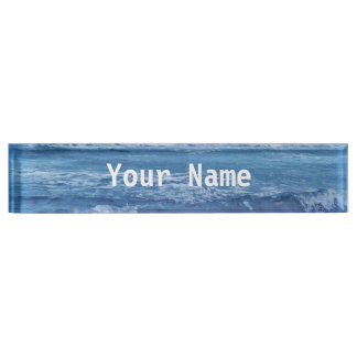 Blue Atlantic Ocean Waves Clouds Sky Photograph Desk Name Plate