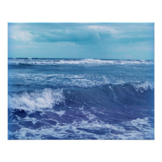 Blue Atlantic Ocean Waves Clouds Sky Photograph Poster