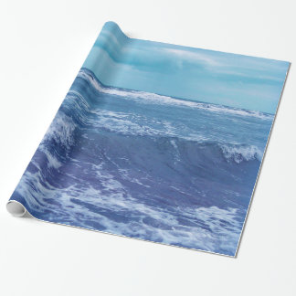 Blue Atlantic Ocean Waves Clouds Sky Photograph Wrapping Paper