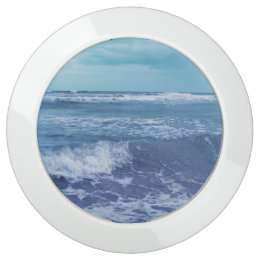 Blue Atlantic Ocean With Waves Puffy Clouds USB Charging Station