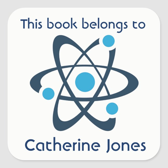 Blue Atom Science Design Bookplate Sticker