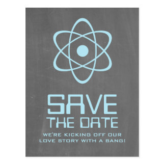 Blue Atomic Chalkboard Save the Date Postcard