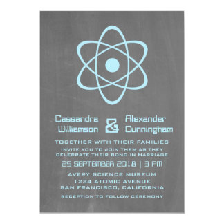 Blue Atomic Chalkboard Wedding Invite