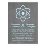 "Blue Atomic Chalkboard Wedding Invite 5"" X 7"" Invitation Card"