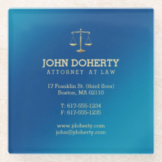 Blue Attorney at Law | Lawyer's contact info Glass Coaster