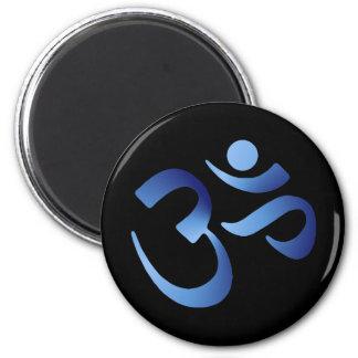 Blue Aum 2 Inch Round Magnet