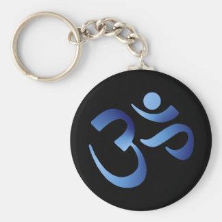 Blue Aum Basic Round Button Keychain