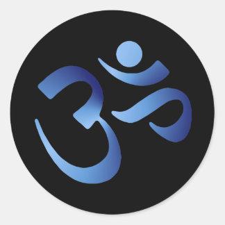 Blue Aum Classic Round Sticker