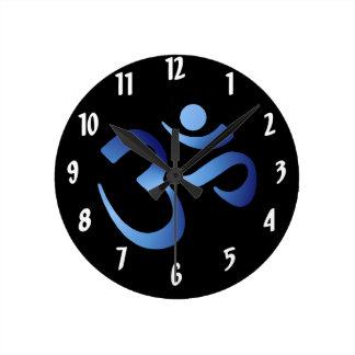 Blue Aum Round Clock