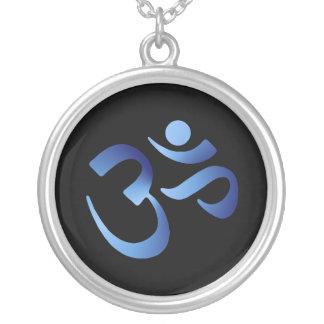 Blue Aum Round Pendant Necklace