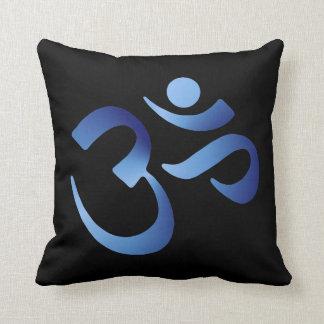 Blue Aum Throw Pillow