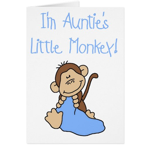 Blue Auntie's Monkey Greeting Card
