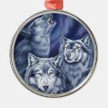 Blue Aurora Wolves Christmas Ornament