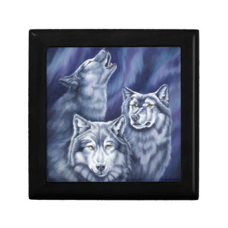 Blue Aurora Wolves Jewelry Boxes