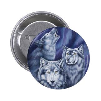Blue Aurora Wolves Pinback Button