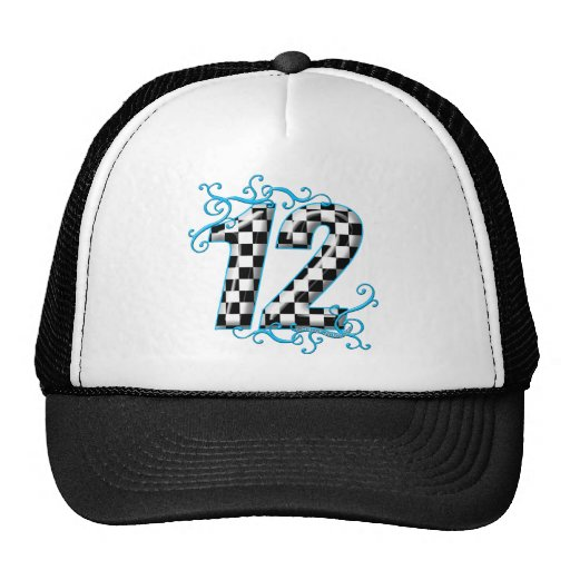 Blue auto racing number 12 hats