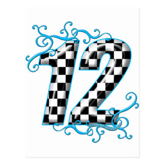 Blue auto racing number 12 postcard