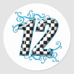 Blue auto racing number 12 round stickers