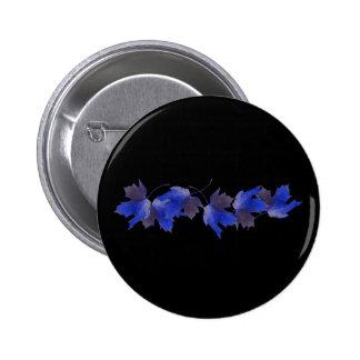 Blue Autumn Leaves 2 Inch Round Button