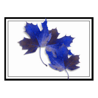 Blue Autumn Leaves Business Card Templates