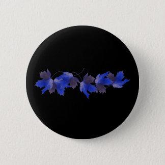 Blue Autumn Leaves Button