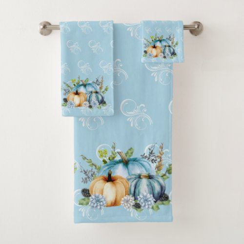 Blue Autumn Pumpkin Watercolor Thanksgiving Bath Towel Set