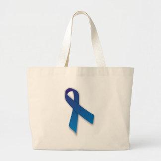 Blue Awareness and Remembrance Ribbon Large Tote Bag