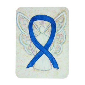 Blue Awareness Ribbon Angel Art Magnet