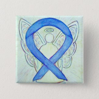 Blue Awareness Ribbon Angel Custom Art Buttons