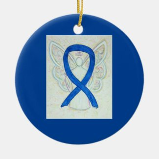 Blue Awareness Ribbon Angel Custom Art Ornaments