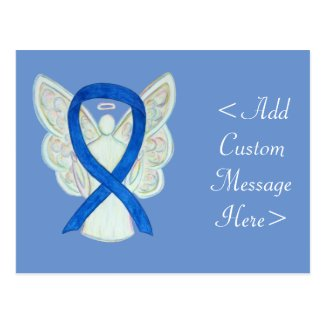 Blue Awareness Ribbon Angel Custom Art Postcard