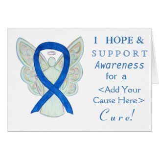 Blue Awareness Ribbon Angel Custom Cause Cards