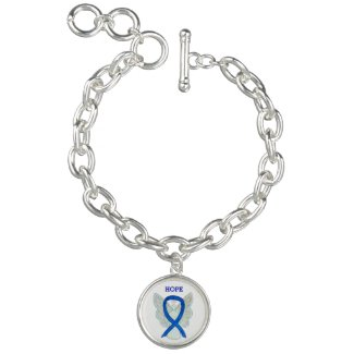 Blue Awareness Ribbon Angel Custom Charm Bracelets